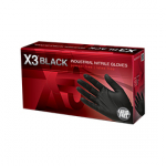 Ammex® X3® Industrial Disposible Nitrile Gloves Black Extra Large 100/BX