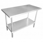 """EFI Work Table 30"""" × 72"""" Stainless Steel Top w/Galvanized Legs and Shelf"""